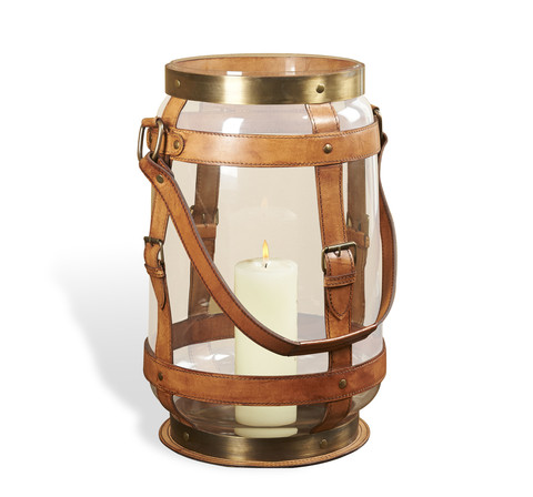 Torben Leather Lantern design by Interlude Home